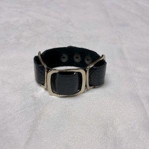 Pebbled Leather Gold Buckle Bracelet